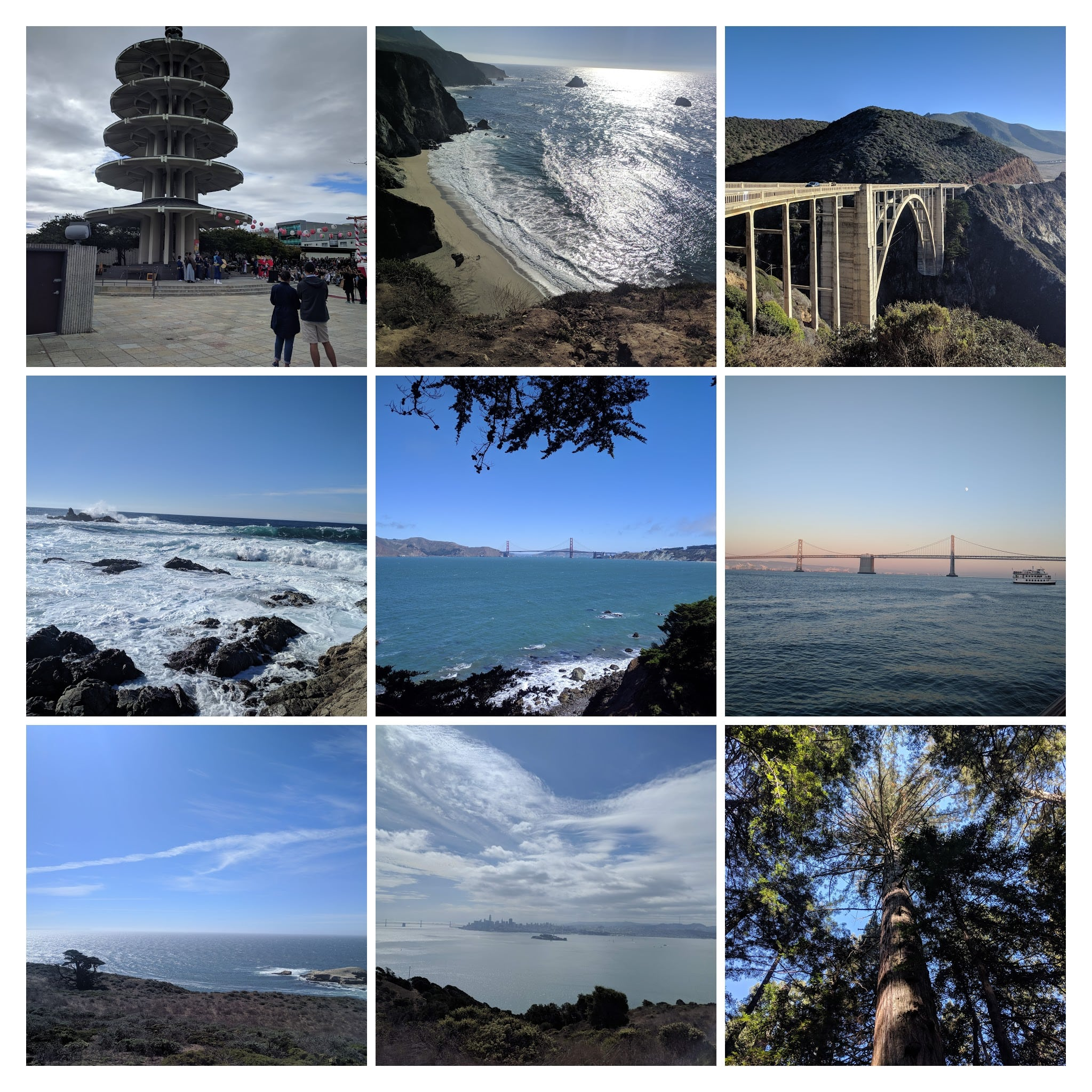 Collage of places visited in SF and the surrounding area