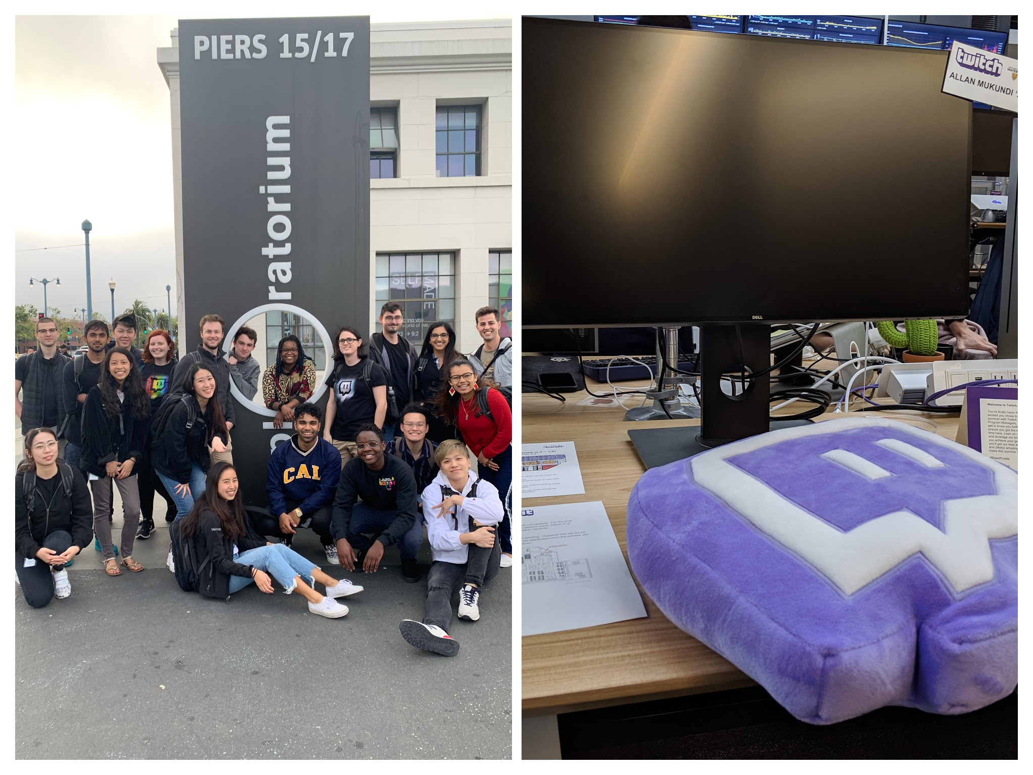 Twitch intern class and my desk on day one